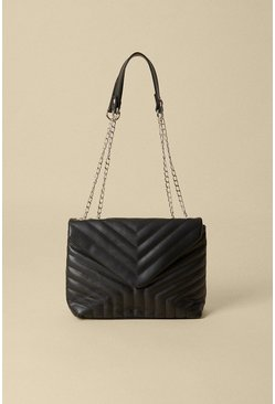 Black Quilted Chain Strap Bag
