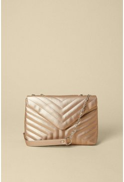 Metallic gold Quilted Chain Strap Bag