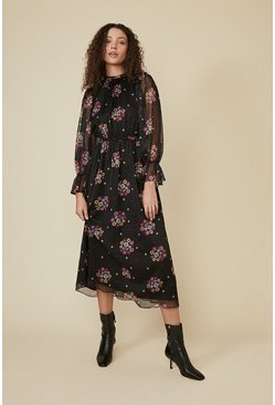 Black Floral Spot Piecrust Midi Dress