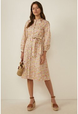 Multi Floral Ditsy Print Shirt Dress