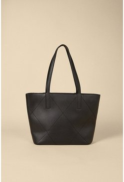 Black Quilted Detail Tote Bag