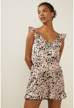 Cream Frilled Spot Printed Wrap Playsuit