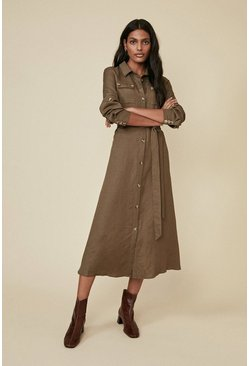 Khaki Linen Mix Pocket Shirtdress