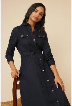 Navy Linen Mix Pocket Shirtdress