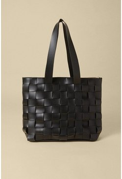 Black Basket Weave Tote Bag