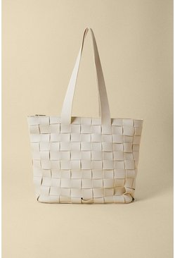 Cream Basket Weave Tote Bag