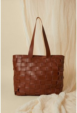 Tan Basket Weave Tote Bag