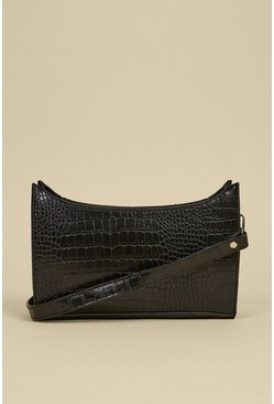 Black Croc Small Shoulder Bag