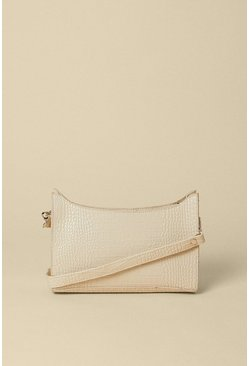 Mink Croc Small Shoulder Bag