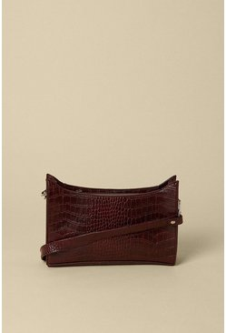 Wine Croc Small Shoulder Bag