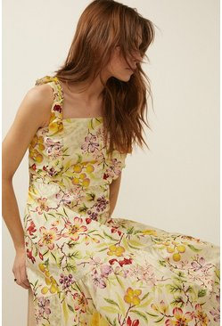 Multi Fruit Print Frill Cotton Midi Dress