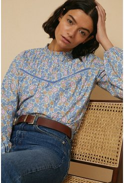 Multi Blue Ditsy Pintuck Blouse
