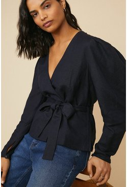 Navy Linen Mix Wrap Puff Sleeve Blouse