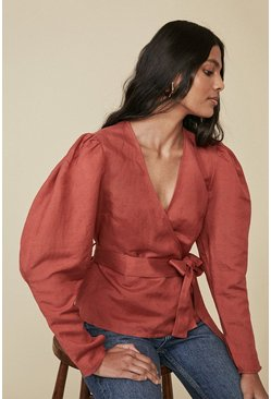 Rust Linen Mix Wrap Puff Sleeve Blouse
