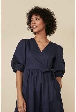 Navy Cotton Poplin Wrap Midi Dress