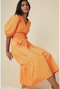 Orange Cotton Poplin Wrap Midi Dress