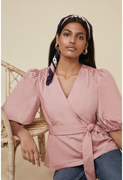 Dusky pink Cotton Poplin Wrap Blouse