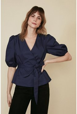Navy Cotton Poplin Wrap Blouse