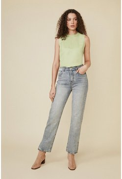 Green Linen Mix Button Back Shell Top