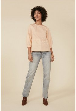 Apricot Cotton Poplin Puff Sleeve Top
