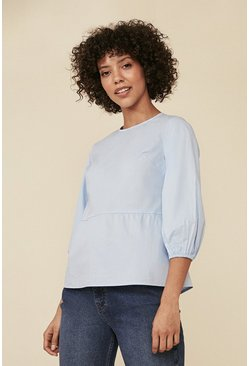 Pale blue Cotton Poplin Puff Sleeve Top