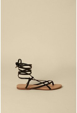 Black Wrap Up Strappy Flat Sandal