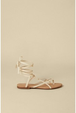 Off white Wrap Up Strappy Flat Sandal