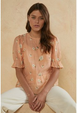 Pale orange Flower Embroidered Puff Sleeve Top