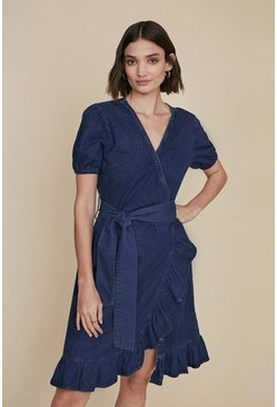 Dark wash Wrap Frill Dress