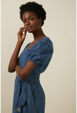 Mid wash Wrap Frill Dress