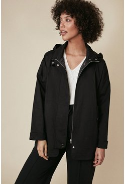 Black Detail Zip Through Parka