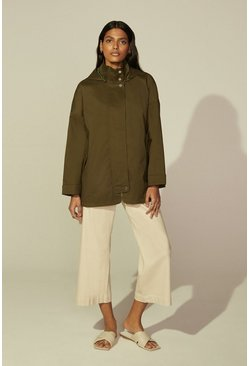 Khaki Detail Zip Through Parka
