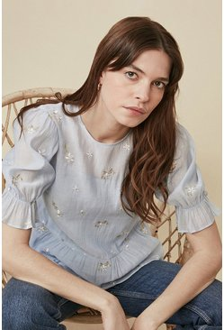Pale blue Flower Embroidered Puff Sleeve Top
