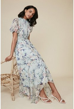 Multi Floral Print Pintuck Hanky Hem Mid Dress