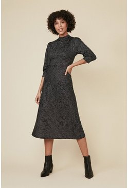 Black Spot Bias Cut Midi Dress
