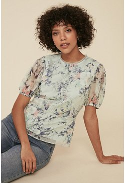 Multi Floral Print Pintuck Blouse