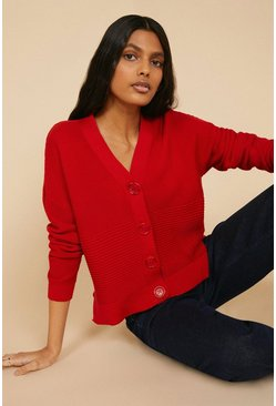 Red Ottoman Button Cardigan