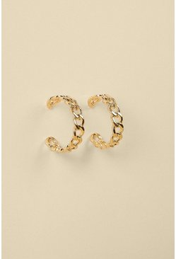 Gold Chunky Link Hoop Earrings