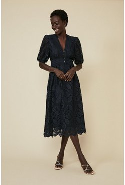 Navy Lace Button Detail Midi Dress