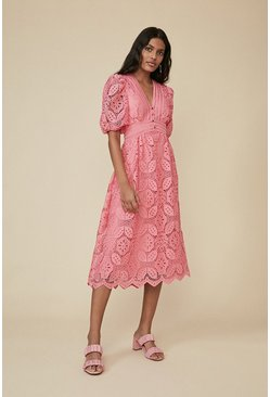Pink Lace Button Detail Midi Dress