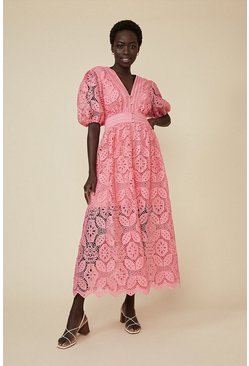 Pink Lace Button Through Midaxi Dress