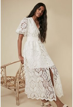 White Lace Button Through Midaxi Dress