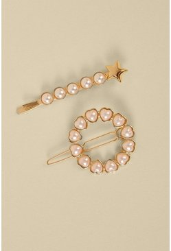 Gold Pearly Star Hair Slide 2 Pack