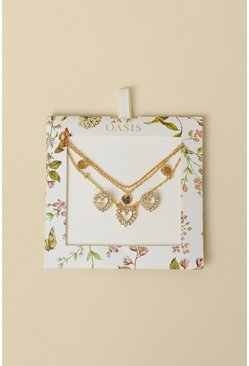 Gold Heart Layered Jewellery Gift Set