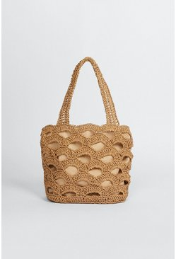Natural Straw Cut Out Shoulder Beach Bag