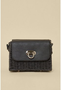 Black Straw Boxy Crossbody Bag
