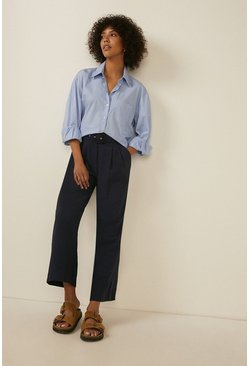Navy Cropped Wide Leg Tailored Trousers