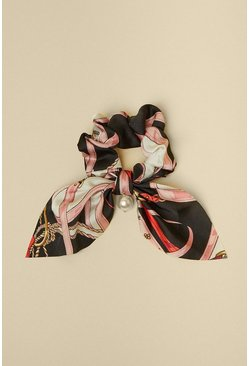 Black Chain Scarf Print With Pearl Scrunchie