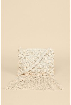 Cream Long Tassel Beach Bag