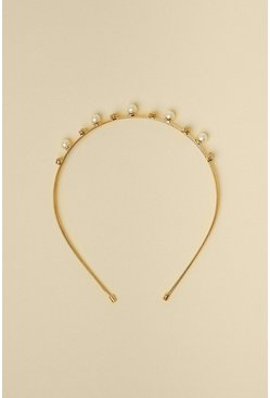 Gold Triple Band Pearl And Diamante Headband